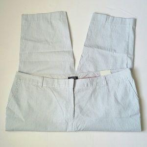 Lands End Blue White Striped Ankle Crop Pants